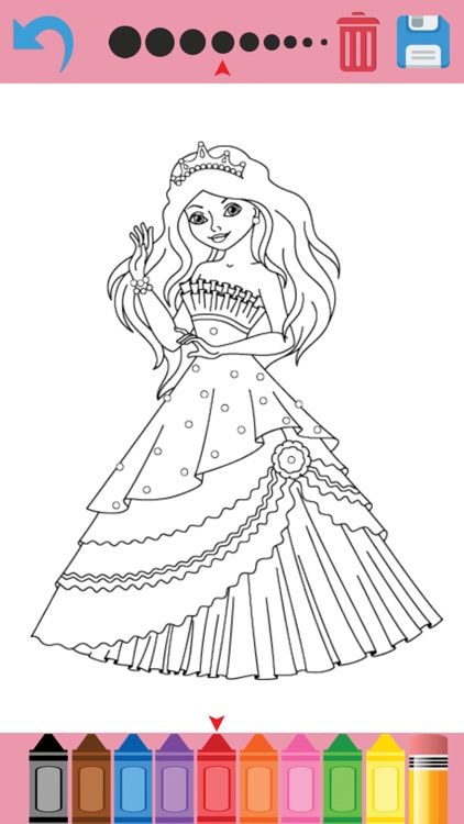 Pretty Princess Coloring Book Game for Kids screenshot-3