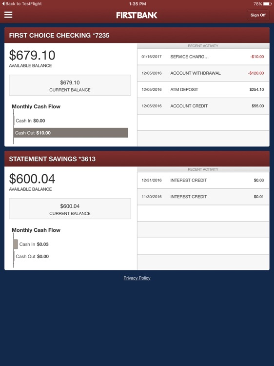First Bank On The Go for iPad screenshot-1