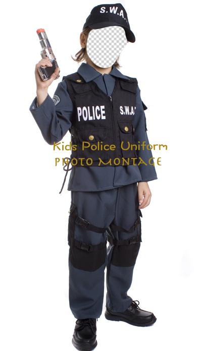Kids Police Uniform Photo Montage screenshot one