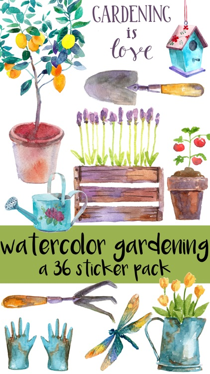Springtime Gardening Watercolor Sticker Pack