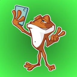Cheerful Brown Frog Stickers