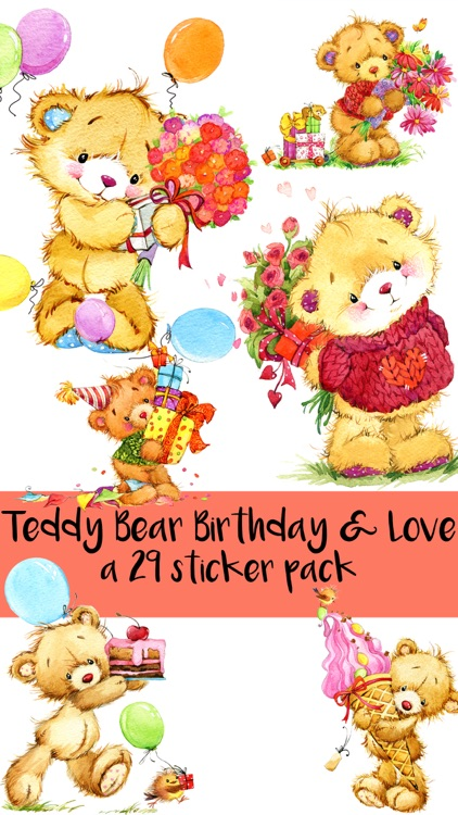 Teddy Bear Birthday and Love Sticker Pack screenshot-0