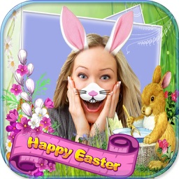 Easter Bunny Photo Stickers with Bunnies & Eggs FX