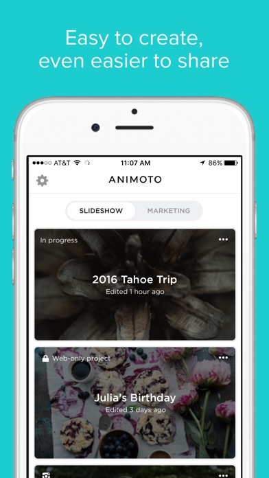 Animoto review screenshots