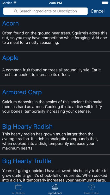 Cooking Guide for Zelda: Breath of the Wild