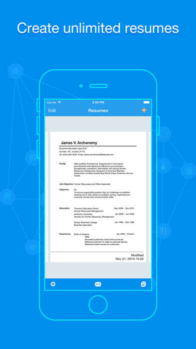 Quick Resume - Resumes Builder and Designer screenshot one