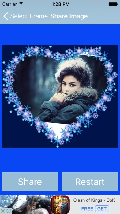 Blue Heart  Romantic Photo Frame screenshot three
