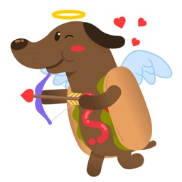 Cupid Wiener Dog Stickers