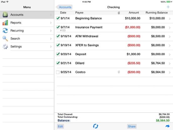 Accounts 2 Checkbook screenshot