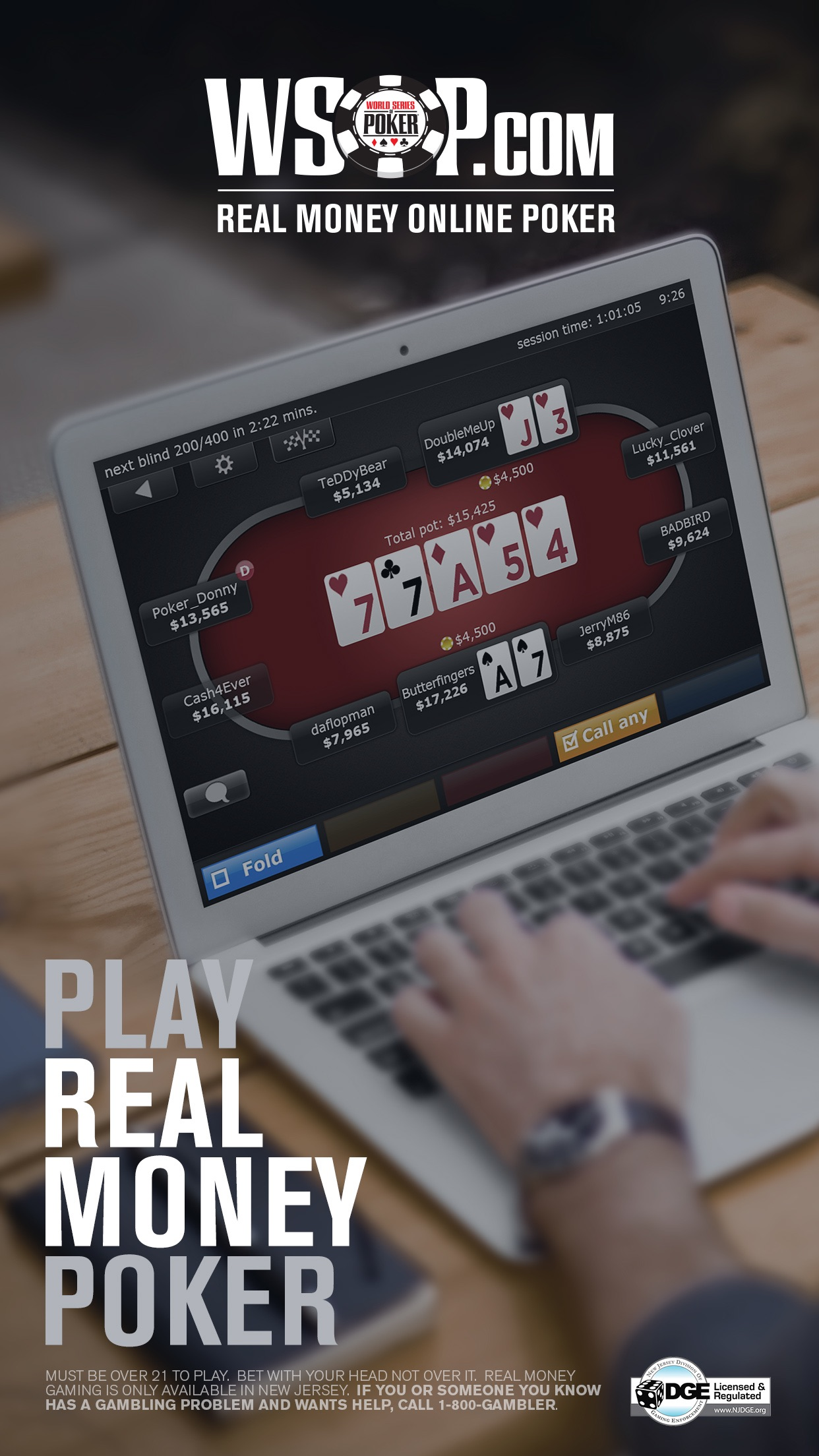 WSOP Real Money Texas Holdem Poker in New Jersey Screenshot