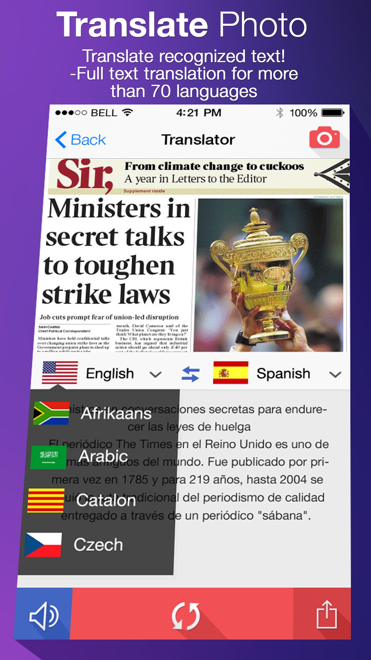 Translate Photo - Camera Scanner OCR & Translator Screenshot