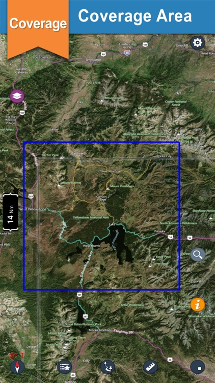 YellowStone offline chart for lake and park trails