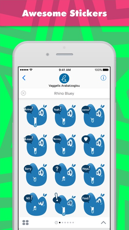 Rhino Bluey stickers by Carterson