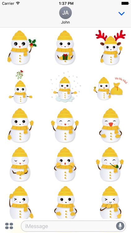 Little Snowman - Christmas Holiday Emoji screenshot-1