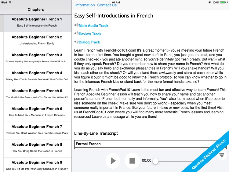 Absolute Beginner French for iPad
