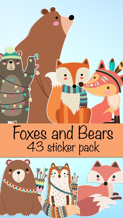 Cute Bear and Fox Animal Sticker Pack
