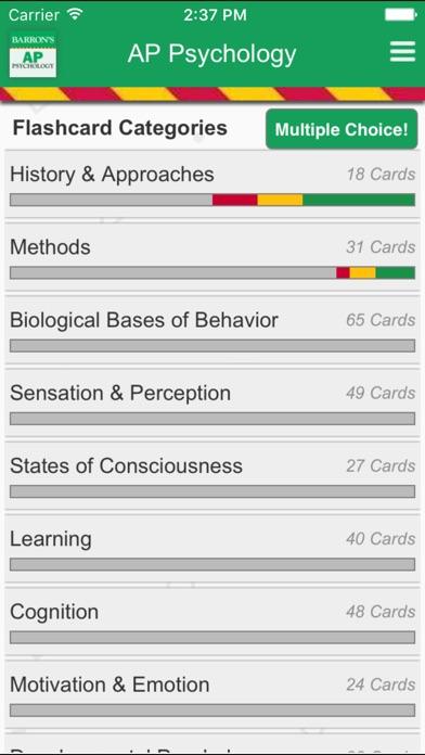 Barron's AP Psychology Flash Cards Screenshot on iOS