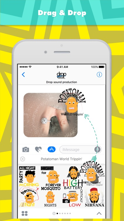 Potatoman World Trippin' stickers by drop sound