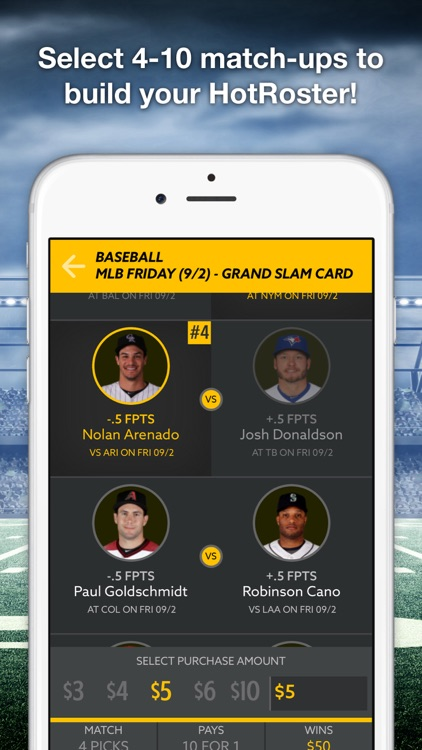 HotRoster Daily Fantasy Match-ups screenshot-2