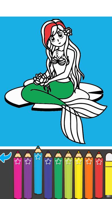 Coloring Mermaid Cartoon Book for preschool screenshot three