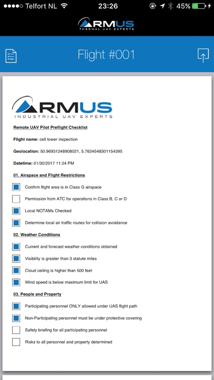 RMUS UAV Pilot PreFlight Compliance Checklist screenshot-3