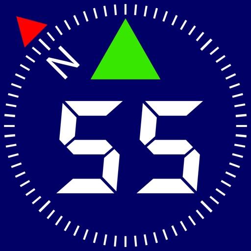 Compass 55. GPS tactical nav tool kit, offline map app logo