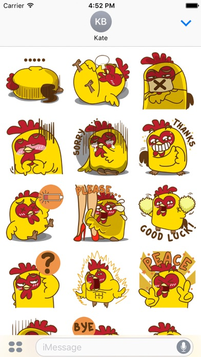 Yelo the naughty chicken for iMessage Sticker screenshot two