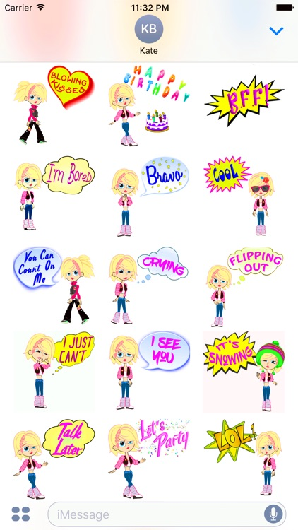 Izzy's Animated Girl Stickers Emoji