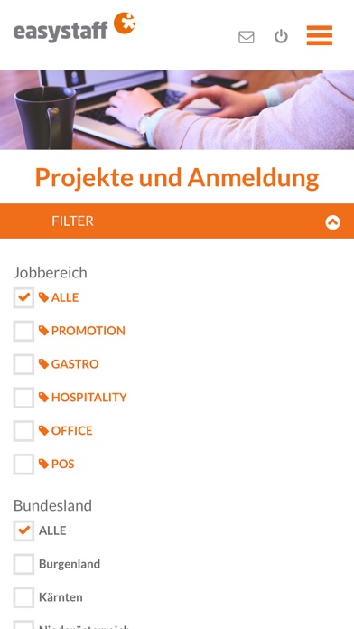 Screenshot for easystaff App in Austria App Store