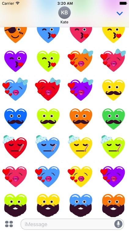 Heart Face Love Multicolor Emojis Stickers screenshot-4