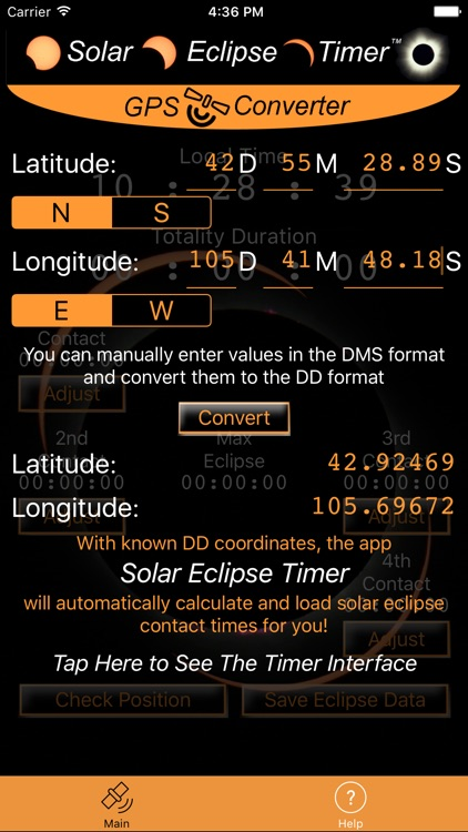 Solar Eclipse Timer GPS Converter screenshot-2