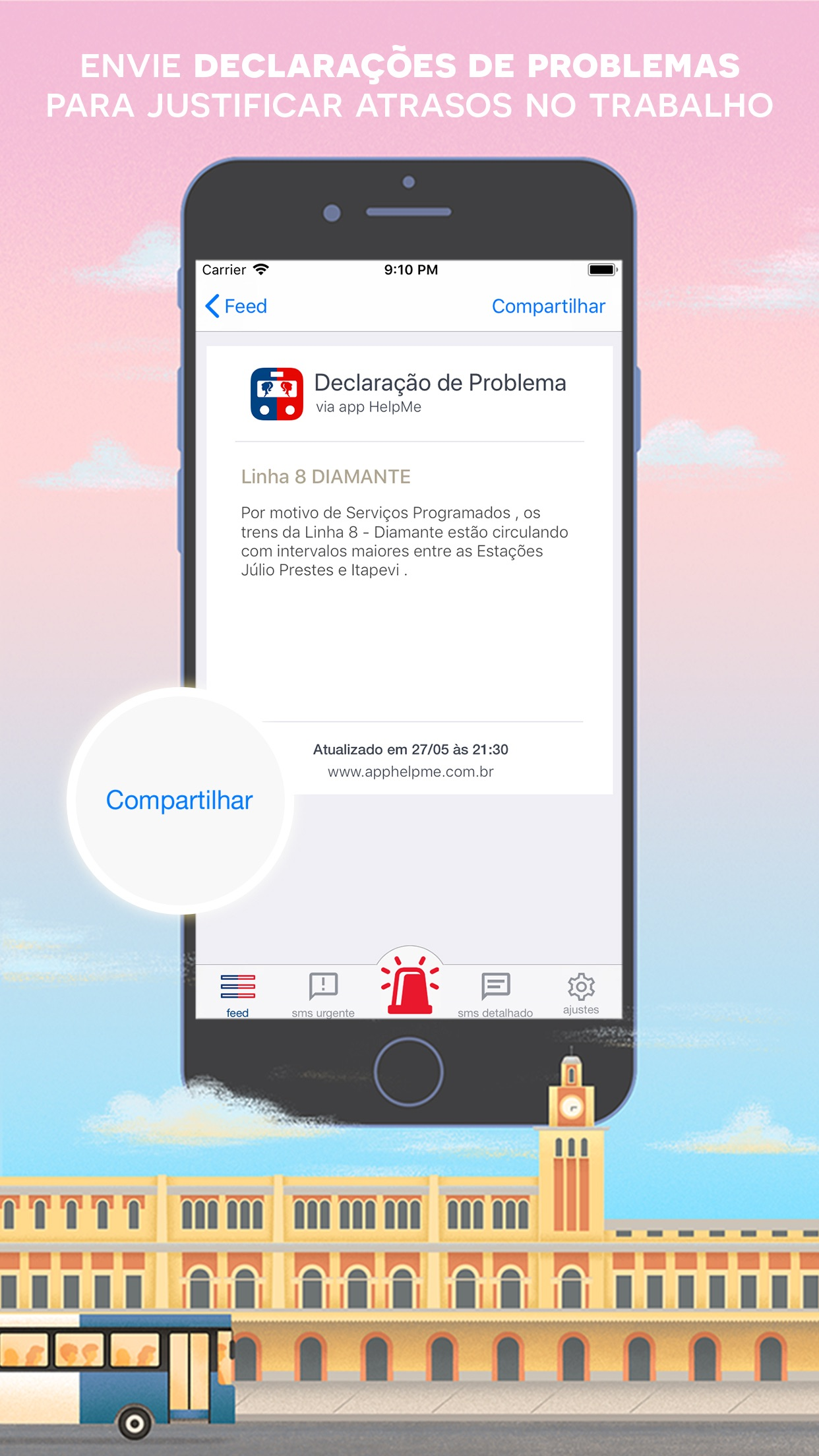 Screenshot do app HelpMe - Denúncia Metrô e CPTM