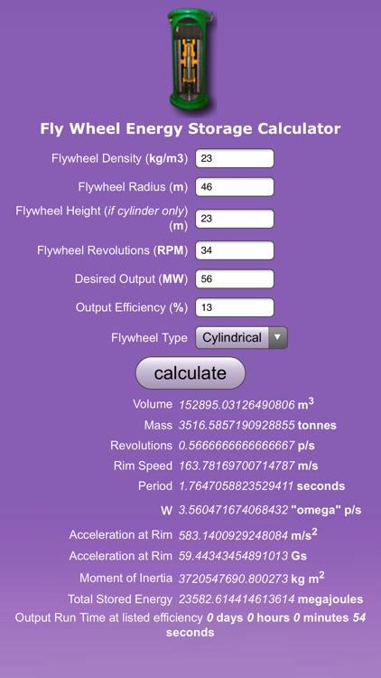 FlyWheel Energy Storage Calc