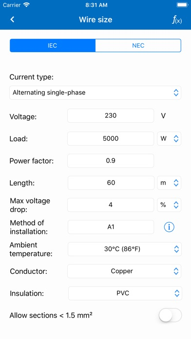 Screenshot for Electrical Calculations PRO in Viet Nam App Store