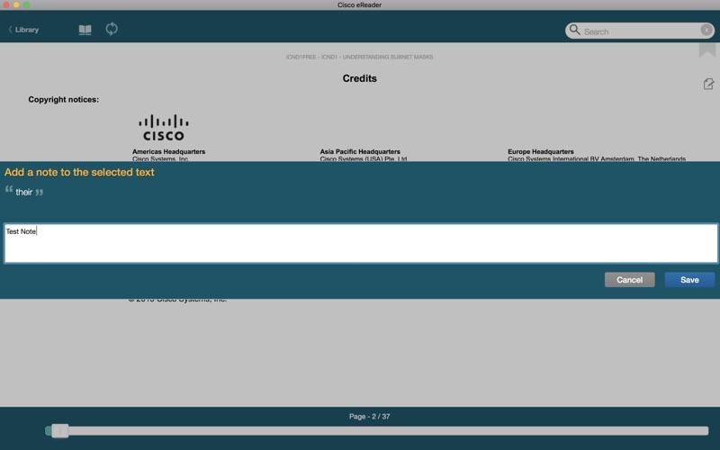 Cisco eReader Screenshot