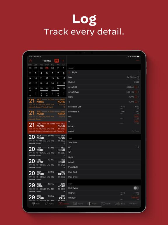 LogTen Pilot Logbook iPad app afbeelding 3