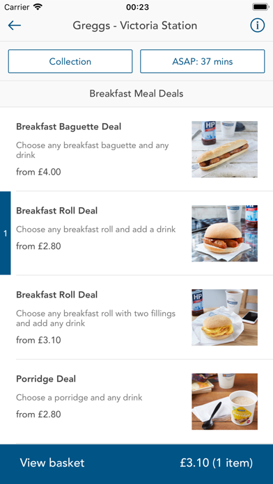 Greggs Click & Collect screenshot two