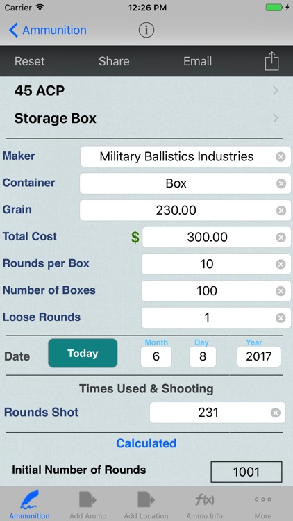 Ammunition Inventory Logbook