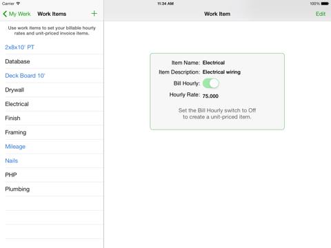 Screenshot of Timewerks: Mobile Billing