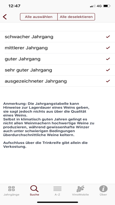 Screenshot for Weinjahrgänge in Germany App Store