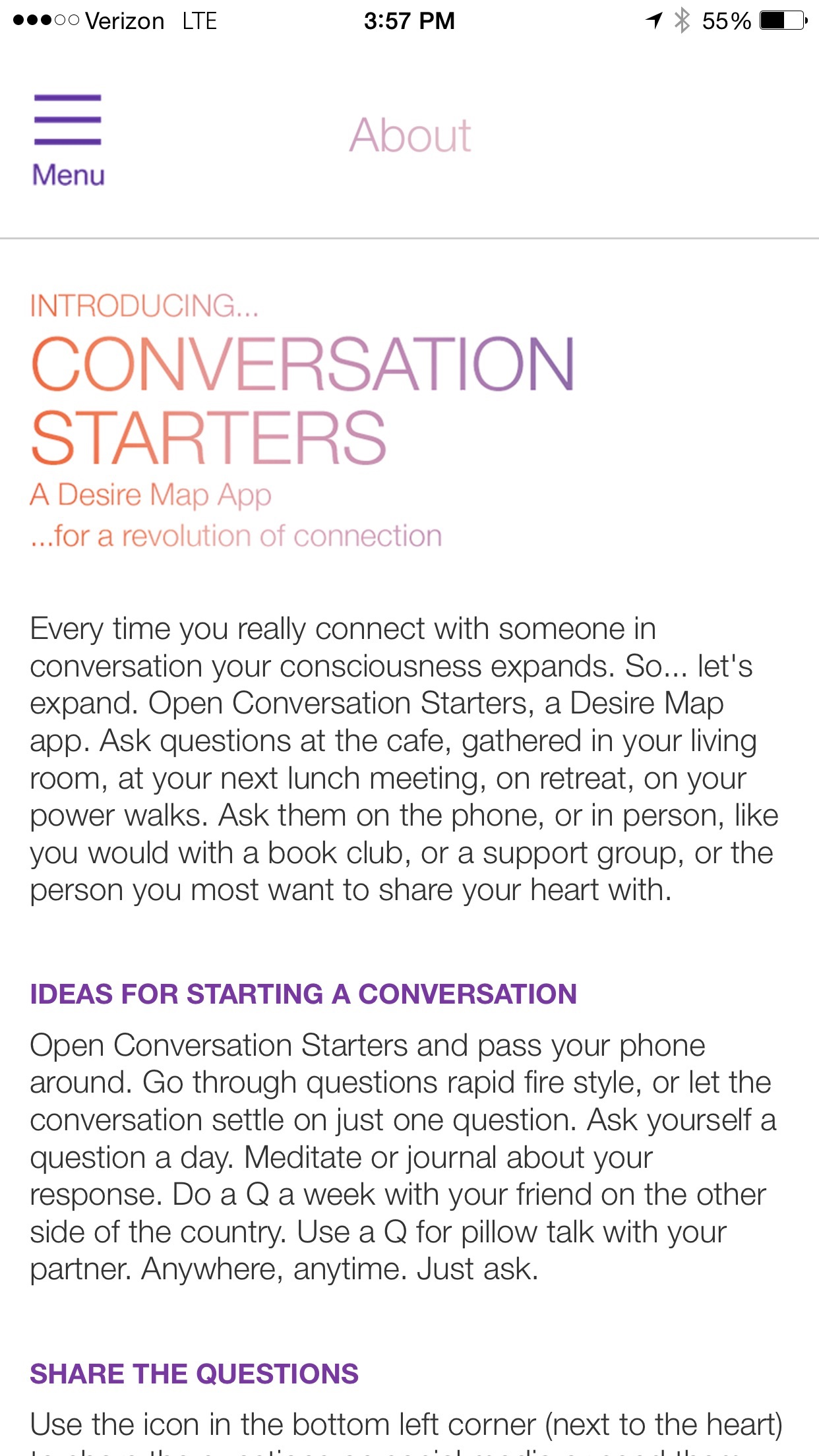 Conversation Starters, DLP Screenshot