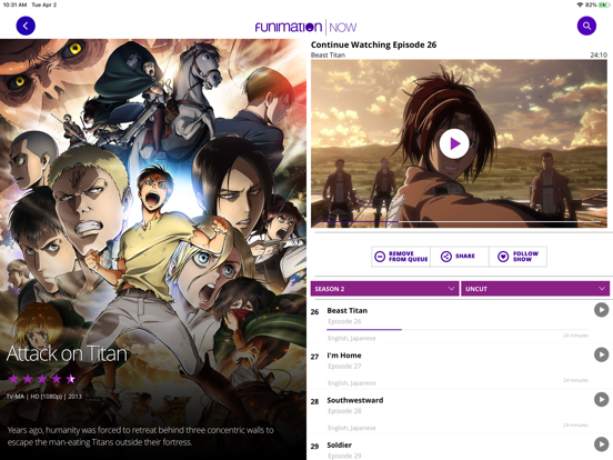 FunimationNow by Funimation (iOS, United States) - SearchMan
