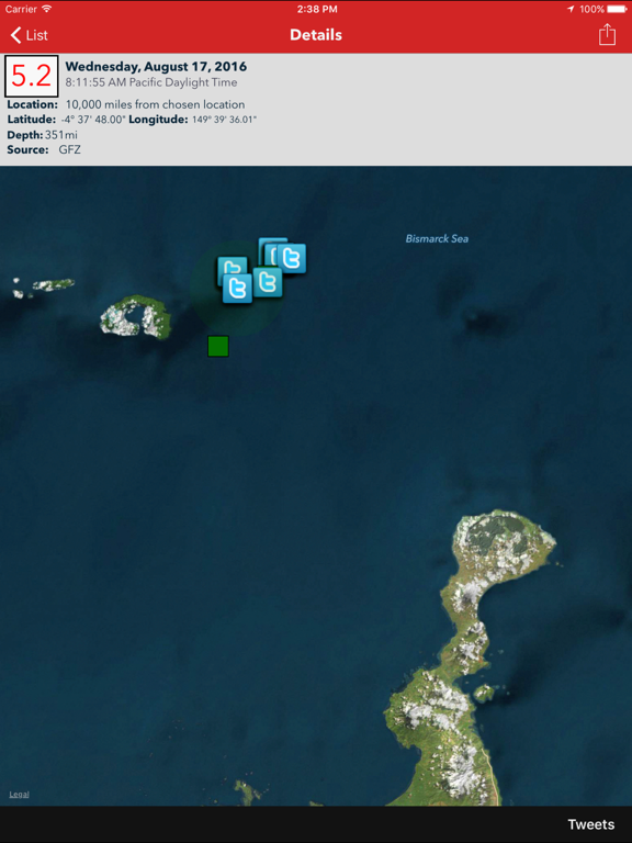 Earthquake - International reporting, alerts, maps, & custom notifications of world earthquakes screenshot