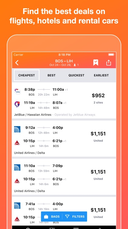 KAYAK Flights, Hotels & Cars screenshot-0