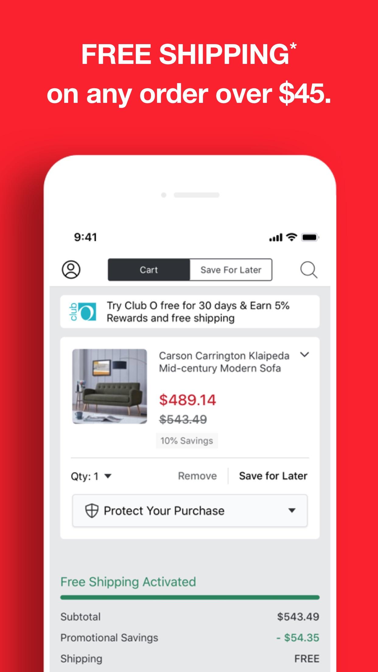 Screenshot do app Overstock — Furniture & Decor