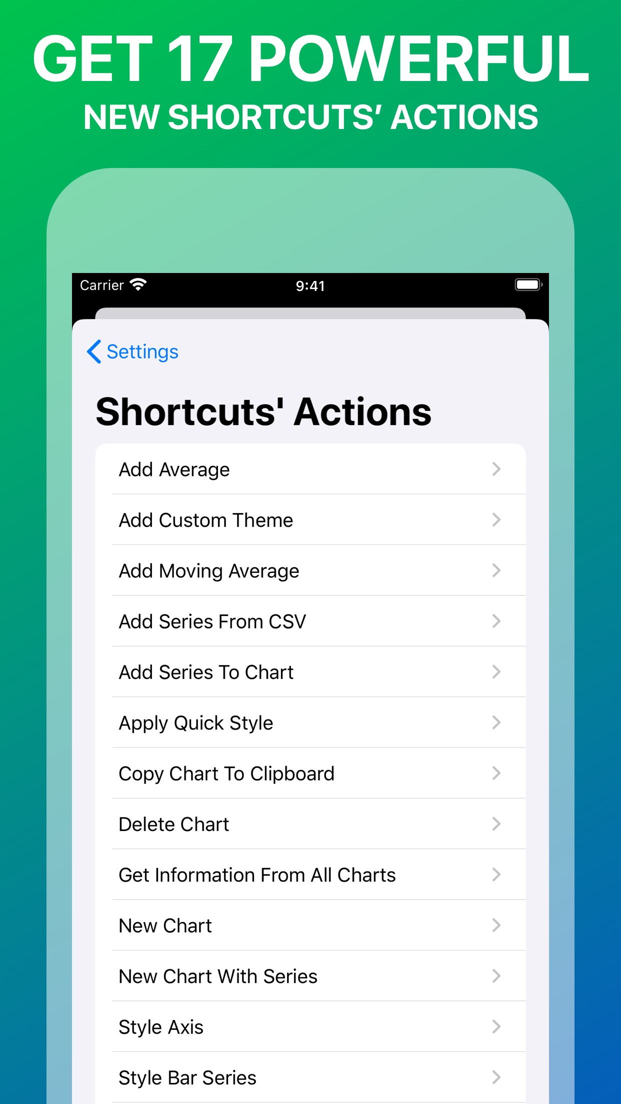 Screenshot do app Charty for Shortcuts