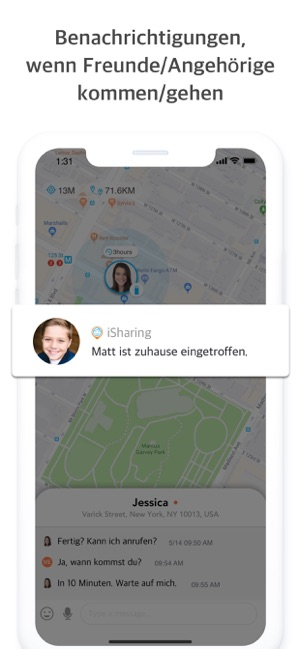 ‎iSharing Handy Freunde Ortungs Screenshot
