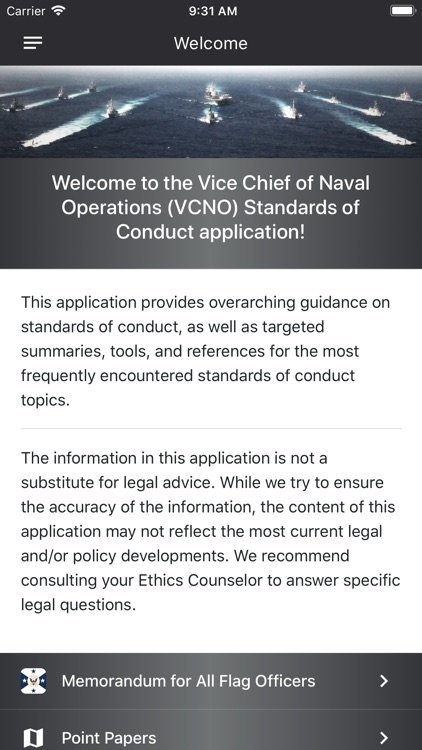VCNO Standards of Conduct