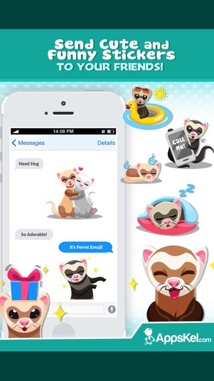 Ferret Pet Emojis Stickers App screenshot-3