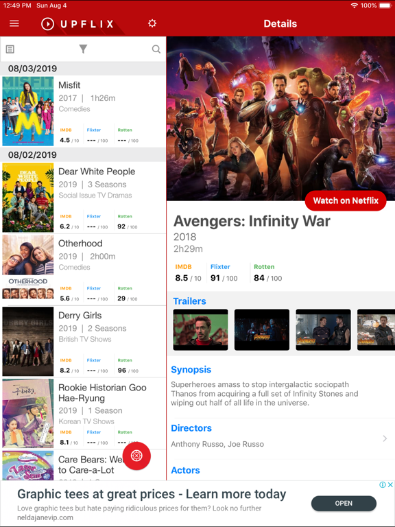 Upflix for Netflix screenshot